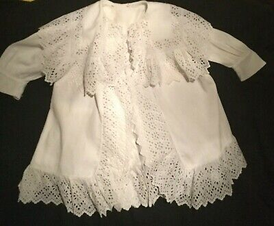 Child's Victorian White Ribbed Cotton Broiderie Anglaise Frock Coat.  Circa 1850