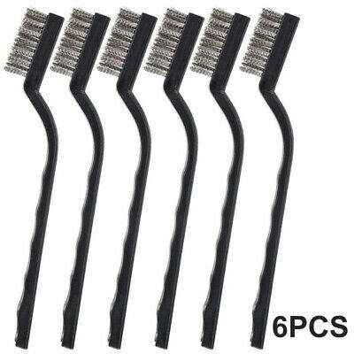 6Pc WIRE BRUSH SET Long Steel Brass Nylon Metal Rust Paint Remover Cleaner