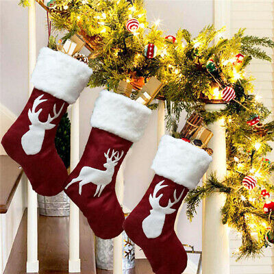 1PC Christmas Sock Gifts Tree Hanging Thicken Stockings Elk Kids Candy Gifts Bag