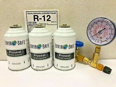 R12, R-12, For Refrigerant 12, Proseal, (3) 4 oz Cans Charging Gauge