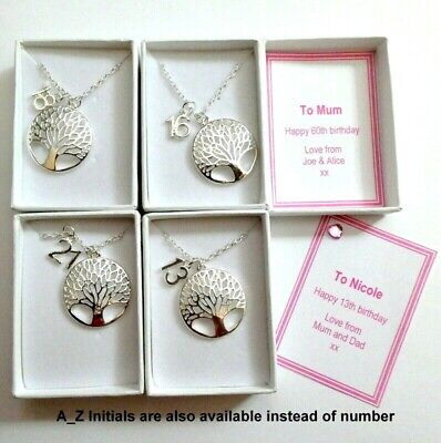 Tree or Life Birthday Necklace Gift Personalised Gift Box + Numbers or Initials