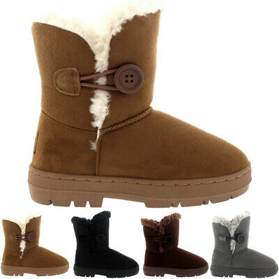 Kids Girls Button Fur Lined Winter Casual Snow Rain Warm Cosy Boots All Sizes