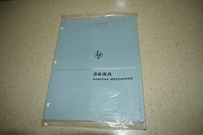 Hp 562A Digital Recorder Operating And Service Manual 1962 (M107)