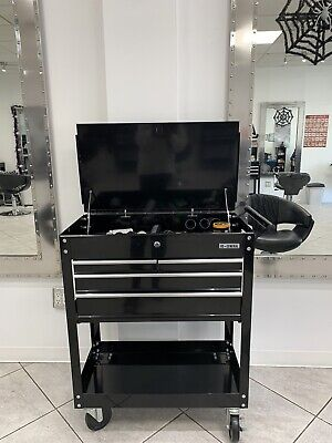 US General Drawers Multi Use Mechanic Tool Cart & Hair Salon Station Black