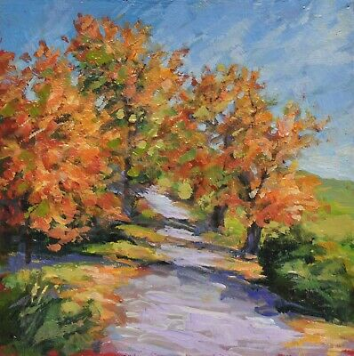 Original Oil Painting by Canadian Artist Kim Aerts, Horse Track in Autumn, ,4x4