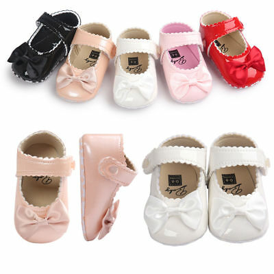 Newborn Baby Girl Bow Anti-slip Leather Christening Pram Shoes Soft Sole Sneaker