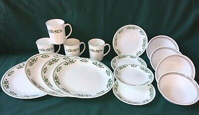 16 pc set CORELLE Winter Holly DINNER DESSERT Plates Bowls Cups CHRISTMAS Great
