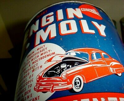 FULL * OLD CAR GRAPHICS 1940's Vintage ENGIN MOLY MOTOR OIL Rare 1 qt Tin Can