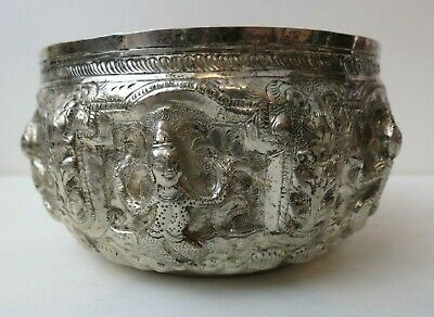 Antique Asian Solid Sterling Burmese Thai Repousee Handcrafted Bowl 6 Figures