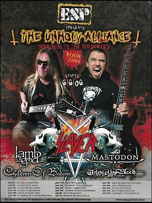 Slayer Lamb of God Mastodon ESP guitars The Unholy Alliance 2006 Tour 8 x 11 ad