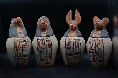 Unique egyptian canopic large jars 4 set vintage limestone made in egypt