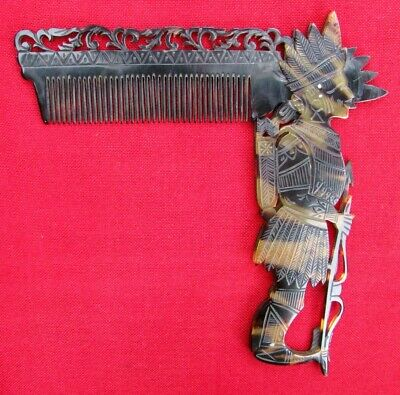 MINT ANTIQUE 1800's FIGURAL AZTEC WARRIOR CHIEF HAND PIERCED & CARVED COMB