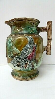 Antique Majolica Embossed Eagle Bird Tree Branches Leaves