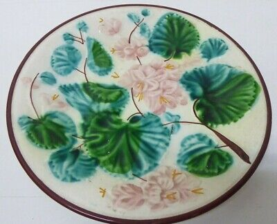 Antique Majolica Embossed Pink Flower & Leaves Plate Stamp 6 D To Base