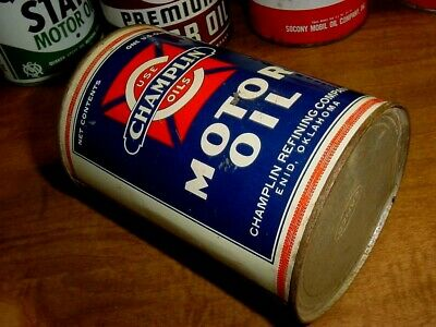 GRAPHIC ~ NOS FULL 1930s Vintage CHAMPLIN MOTOR OIL Old 1 qt. Tin Can