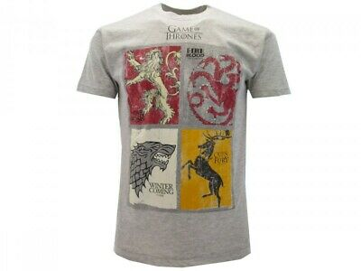Game of Thrones T-Shirt Badges 4 Family Houses Official HBO Game of Thrones