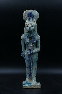 Goddess of Peace Sekhmet vintage statue faience carved stone made in egypt
