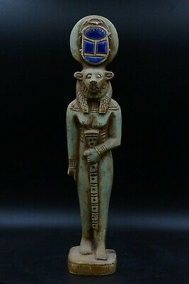 Rare vintage goddess Sekhmet Scarab above head statue faience carved stone made