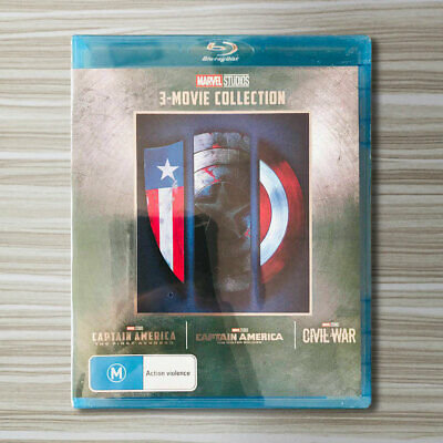 CAPTAIN AMERICA 1-3 Movie Collection Blu-ray Marvel Trilogy 1 2 3 Set US Seller