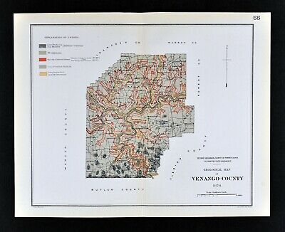 1881 Geological Map - Venango County Pennsylvania - by Lesley Geology Survey PA
