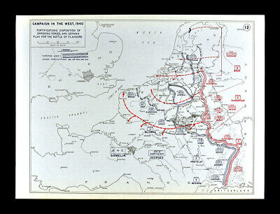 West Point WWII Map - Battle of Flanders - Holland Belgium Netherlands - 1940