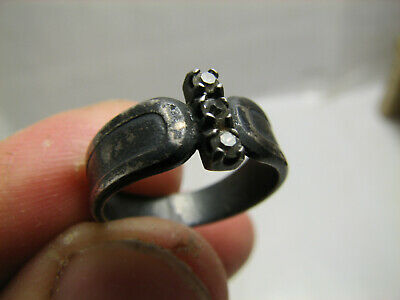 FOUND with METAL DETECTOR OLD VINTAGE STERLING SILVER RING w STONE # 1385