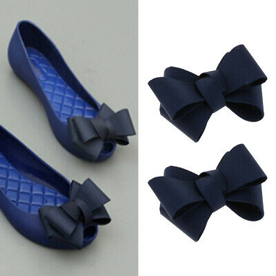 2x Ribbon Bowknot Shoe Clips Charms Buckle Removable Decoration - Navy, 8cm