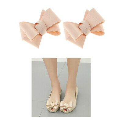 1 Pair Ribbon Bow Butterfly High Heel Shoe Clips Charms Apricot Decoration