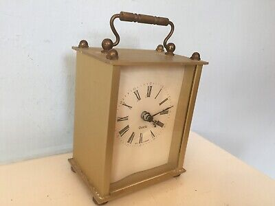 Working Brass vintage 80's West GERMAN Battery Quartz Carriage mantle Clock