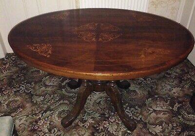 "Victorian mahogany oval fliptop ""loo"" table. Inlaid top. Good condition"