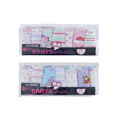 Girls Knickers Young Girls Cotton Design Printed Briefs 7 Pack Multipack New