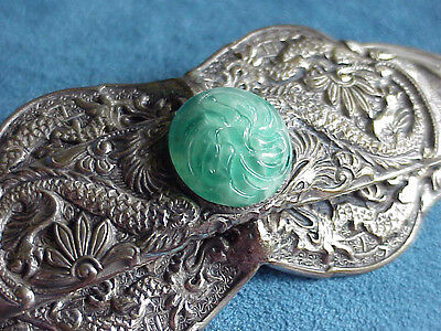 Antique DRAGON Chinese Export Silver Plate Green Glass Art Deco Brooch Pin