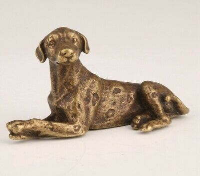 Retro China Bronze Statue Figurine Animal Greyhound Solid Mascot Gift Collec Old