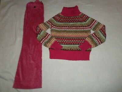 Gap Kids Fair Isle sweater (age 5-6) and velvet trousers (age 6) - VGC