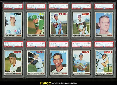 Lot(27) 1970 Topps w/ Lopez Roof Rigney Monday McGinn Hands, ALL PSA 7 8 (PWCC)