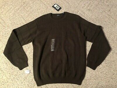 Izod 100% Cotton Men's Cable Knit Green Brown NWT Crew Neck Sweater Size Large