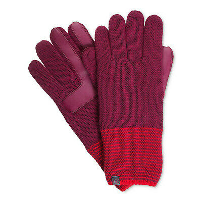 ISOTONER Wine Knit Striped Cuff smarTouch smartDRI Lined Gloves One Size
