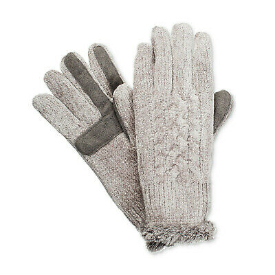 ISOTONER Gray Cable Chenille smarTouch Microluxe Lined Gloves One Size