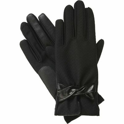 ISOTONER Black Dobby Stretch Faux Leather smarTouch Lined Womens Gloves S XS