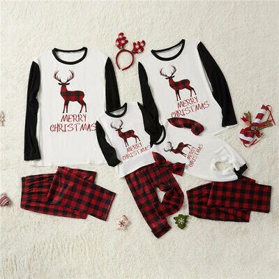 Family Matching Adult Kids Christmas Elk Pyjamas Xmas Nightwear Pajamas PJs Sets