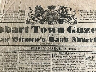 1825 Hobart Town Gazette - 2 pages - extremely rare! ORIGINAL free shipping