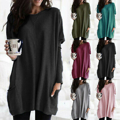 Womens Long Sleeve Baggy Tunic Tops Ladies Loose Jumper Pullover Blouse Jersey