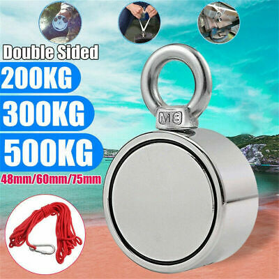 200/300/500KG Double Side Neodymium Metal Magnet Detector Fishing Kit+10M Rope@A