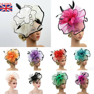 Feather Flower Headband AliceBand Fascinator Wedding Ladies Day Race Royal Ascot