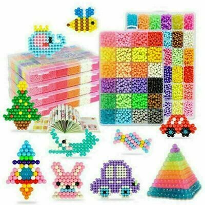Kids 3200-6000 SUPER REFILL Aqua Water Fuse Beads 24 SEPARATE Color Packing Xmas