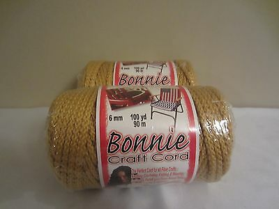 Lot of 2 Rolls of Gold 6mm Bonnie Braid Braided Macrame Craft Cord 200yds