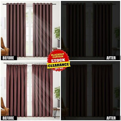 Thermal Blackout Curtains Ready Made Eyelet Ring Top & Pencil Pleat + Tie Backs