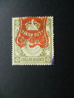 """HONG KONG :- Revenue """" Stamp Duty."""" KEVII 1 Dollar 50 Cents. Cancelled."""