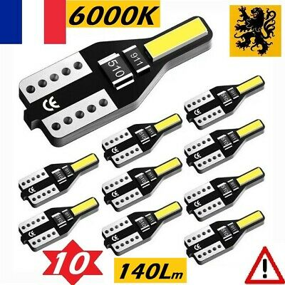 10x T10 W5W LED 2 SMD 7020 - 160Lm Blanc Jour 6000k 12V 0,50W Ultra Compacts ISO