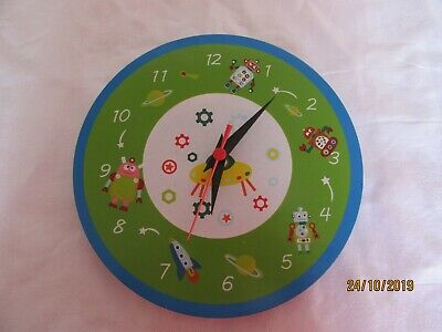Mousehouse Children's Green Robot  Wall clock Boys Nursery  Bedroom
